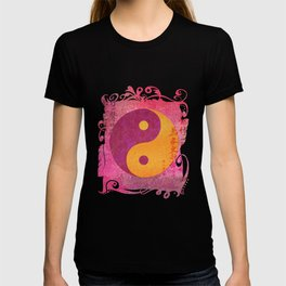 Yin and yang pink Watercolor Collage with Calligraphy T-shirt