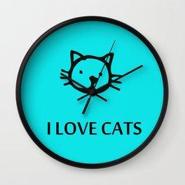 I LOVE CATS BLUE Wall Clock