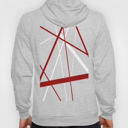 Red and White Stripes on A Black Background Vector Hoody