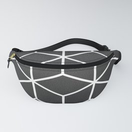 Charcoal and White - Geometric Textured Cube Design Fanny Pack