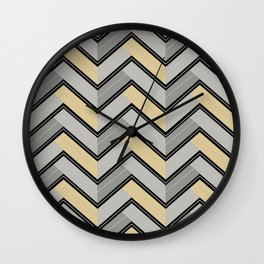 Grays - Black Yellow-Green Horizontal Ripped Chevron Pattern Wall Clock