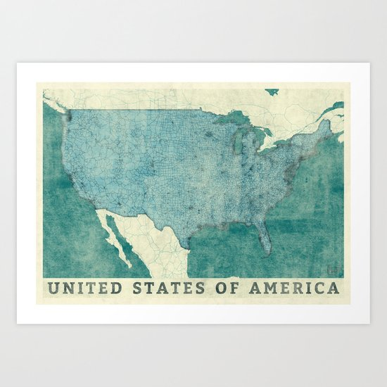 United States Of America Map Blue Vintage Art Print