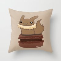 eevee Throw Pillows featuring Eevee Macaron by Mayying