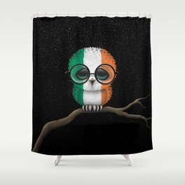Baby Owl with Glasses and Irish Flag Shower Curtain