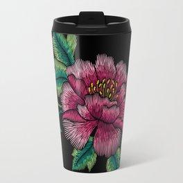 Embroidered Flowers on Black 03 Travel Mug