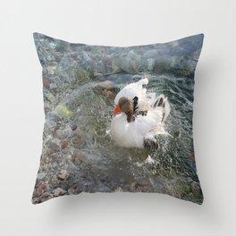Duck Splashing Water Creating Ripples on Riverbank Throw Pillow