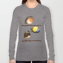 Three Little Birbs - Brown Long Sleeve T-shirt