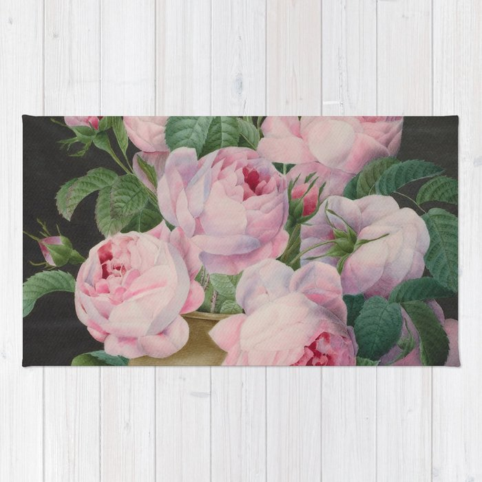 Pierre Joseph Redouté Pink Roses In A Vase Rug