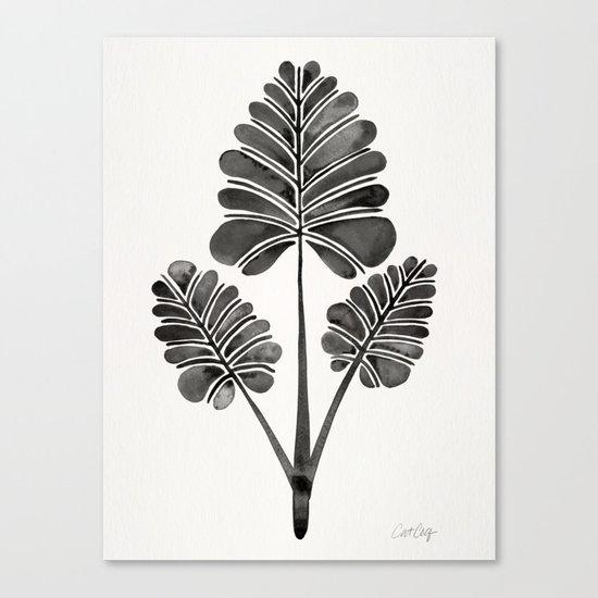 Tropical Palm Leaf Trifecta – Black Palette Canvas Print
