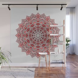 12-Fold Mandala Flower in Red Wall Mural
