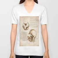 homer V-neck T-shirts featuring Leonardo's Homer by SilentKW