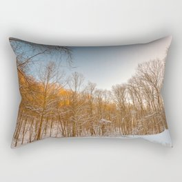 Golden Winter Forest Rectangular Pillow