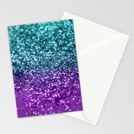 Purple Teal MERMAID Girls Glitter #1 #shiny #decor #art #society6 Stationery Cards