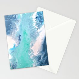 Blue Fluid Painting Waves Fluid Acrylic Abstract Stationery Cards