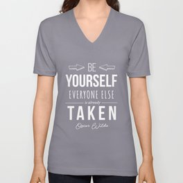 Oscar Wilde Inspirational Quote Unisex V-Neck