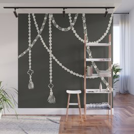 Beaded Garland With Tassels in Black Wall Mural