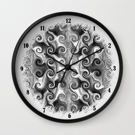 Black White Seamless Wave Spiral Abstract Pattern Wall Clock