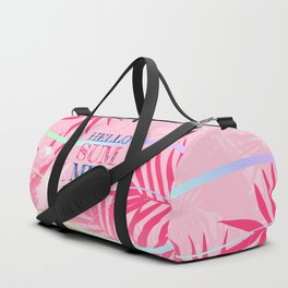 Hello Summer Typography Tropical in Pink Duffle Bag
