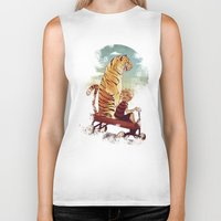 hobbes Biker Tanks featuring boy and Tiger by Tintanaveia
