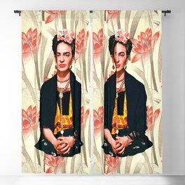 Frida Kahlo Queen of Flowers Blackout Curtain