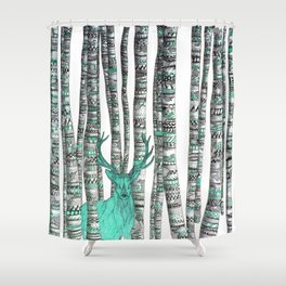 Turquoise Stag Shower Curtain