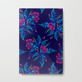 Ferns and Parrot Tulips - Blue Pink Metal Print