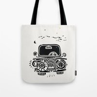 jeep Tote Bags featuring Jeep by inktheboot