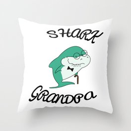Grandpa shark. Shark with glasses. Shark with a cane. Green shark Throw Pillow