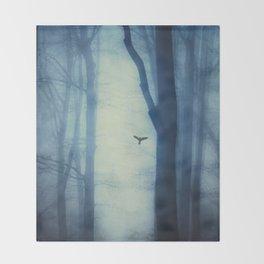 waning lines - trees in fog Throw Blanket