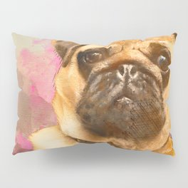 Pug Painting, Watercolor Pug, Pug Art, Pug Print, Dog Pug, Animal, Mixed Media, Love Pug, Decor Pillow Sham