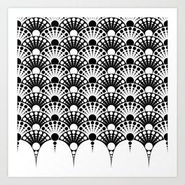 black and white art deco inspired fan pattern Art Print