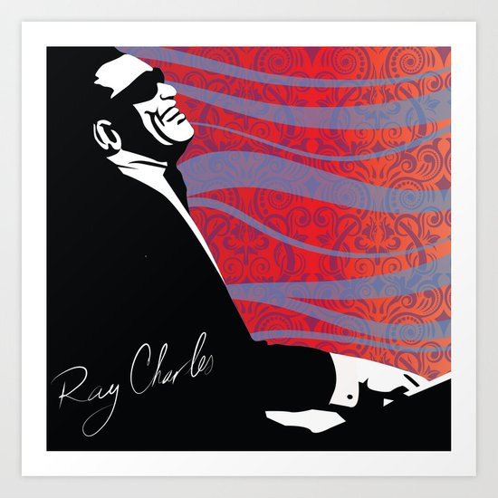 Retro Graffiti Ray Charles Jazz Poster Art Print