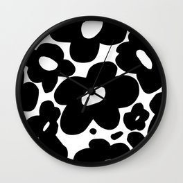 60s 70s Hippie Flowers Black Wall Clock