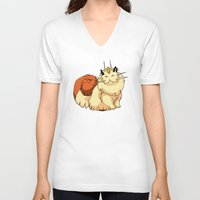 persian V-neck T-shirts featuring meowth persian by HiddenStash Art