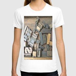 Vintage Wooden Letter Press Letters T-shirt