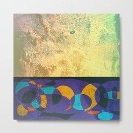 Golden Textures on Purple Design Metal Print