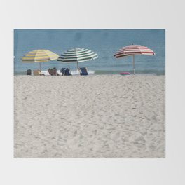 Bald Head Island Beach Umbrellas | Bald Head Island, North Carolina Throw Blanket