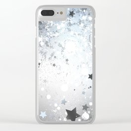 Silver Background with Stars Clear iPhone Case