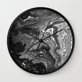 Izumi - spilled ink marble landscape abstract painting handmade art print texture black and white Wall Clock
