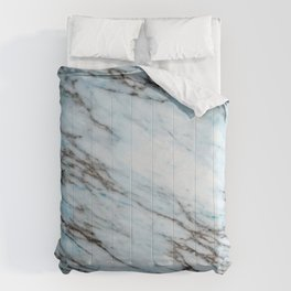 Aqua Black and White Marble Crackle Comforters