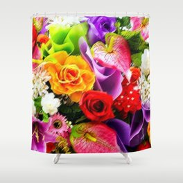 Bouquet of Roses, Carnations, Lilies, Tulip Still Life Painting by Jeanpaul Ferro Shower Curtain