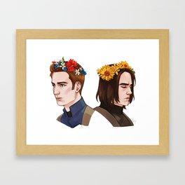 CATWS Steve and Bucky Floral Crowns Framed Art Print