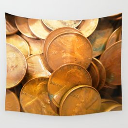 Watercolor Coins, Lincoln Wheat Pennies, 1947 03 Wall Tapestry