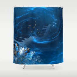 Blue coral melody  Shower Curtain