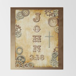 Steampunk Bible Verse John 3:16 Throw Blanket