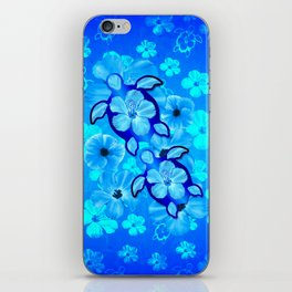 Tropical Hibiscus Flowers And Honu Turtles iPhone Skin