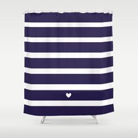 preppy Shower Curtains featuring PREPPY STRIPES by Annie Neusteter