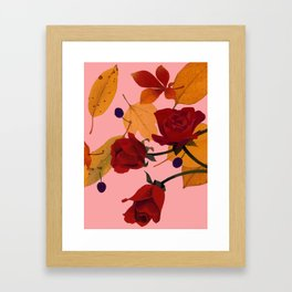 Autumn Leaves and roses Framed Art Print
