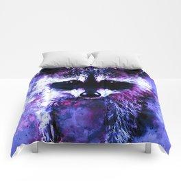 raccoon watercolor splatters blue purple Comforters