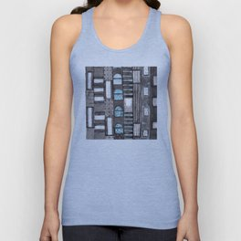 Gray Facade with Lighted Windows Unisex Tank Top